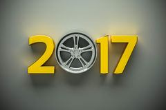 Concept with car wheel Stock Image