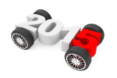 2015 concept with car wheels. On a white background Stock Photo