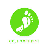 Concept carbon footprint leaves icon in green circle. Royalty Free Stock Photo