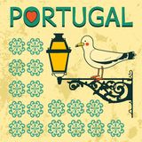Concept card with tipical portuguese lantern and Royalty Free Stock Photo