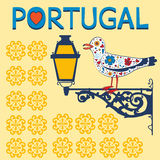 Concept card with typical portuguese lantern and  Royalty Free Stock Photography