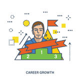 Concept of career growth and success or leadership. Flat Vector illustration. Can be used for banner, business data, web design, brochure template Royalty Free Stock Images