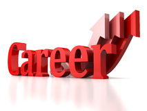 Concept career text with growing rise arrows up. 3d Stock Photography