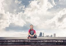 Concept of careless happy childhood with girl of school age smil royalty free stock image
