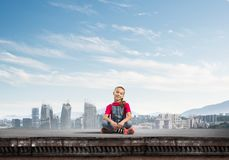 Concept of careless happy childhood with girl of school age smilling royalty free stock photography