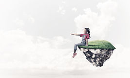 Concept of careless happy childhood with girl showing touch gest Stock Photography