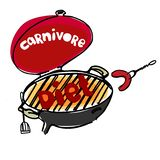 Concept of carnivore, all-meat diet. Hand drawn BBQ stove with hand-lettered word Diet looking like grilling meat. Concept of carnivore, all-meat diet, also stock illustration