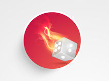Concept of casino with burning dice. Royalty Free Stock Photos