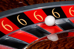 Concept of casino roulette lucky numbers wheel black and red sec Royalty Free Stock Photo