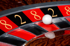 Concept of casino roulette wheel with code of Fortune. Concept of classic casino roulette wheel with code of Fortune lucky numbers 8-2-8-2-8. Black and red Stock Image