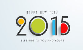 Concept of celebrating Happy New Year 2015. Happy New Year 2015 celebration with colorful text and wishing message on stylish background, can be us as poster Stock Photos