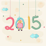 Concept of celebrating New Year 2015. Poster of Happy New Year 2015 with sheep on stylish background stock illustration
