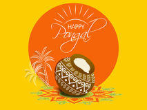 Concept of celebrating South Indian festival Happy Pongal. Stock Photo