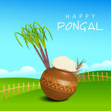 Concept of celebrating South Indian festival Happy Pongal. Royalty Free Stock Image