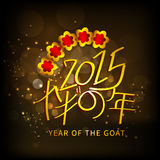 Concept of celebrating Year of the Goat 2015. Year of the Goat 2015 celebrations greeting card design with Chinese text on shiny brown background Royalty Free Stock Photos