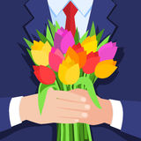 Concept of celebration. Bouquet of beautiful flowers. Business man holding out a bunch of tulips. Flat design, vector illustration vector illustration