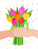 Concept of celebration. Bouquet of beautiful flowers. Man holding a bunch of tulips. Flat design, vector illustration Royalty Free Illustration