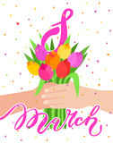 Concept of celebration. Bouquet of beautiful flowers. 8 march. Man holding a bunch of tulips. Flat design, vector illustration Vector Illustration