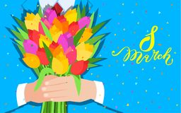 Concept of celebration. Bouquet of beautiful flowers. Business man holding out a bunch of tulips. Flat design, vector illustration stock illustration