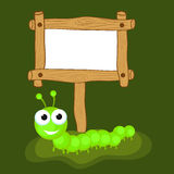 Concept of centipede with blank wooden board. Stock Photo