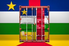 The transporting container with the national flag. The concept of  central African Republic export-import, container transporting and national delivery of goods stock photography