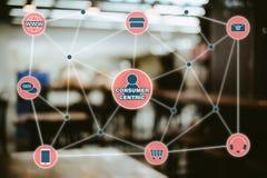 Concept central de vente du consommateur La Manche d'Omni vendant Conce au détail images libres de droits