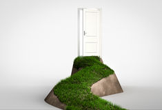 Concept of challenge and opportunity. Grass footpath leading to. Open door on hill. 3d render Royalty Free Stock Photo