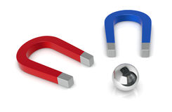 Concept of challenge. Two magnets pulling a sphere, the concept of challenge (3d render Royalty Free Stock Photos