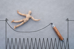 Concept of challenge  with wooden figure walking with rope.jpg Stock Photo