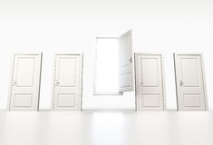 Concept of chance and opportunity. Row of shut white doors. Ligh Royalty Free Stock Photography
