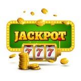 Concept chanceux 777 de gros lot de sevens de machine à sous Jeu de casino de vecteur Machine à sous avec des pièces de monnaie d Photos libres de droits