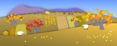 Concept change of seasons.Globe concept showing a peaceful and i. Concept showing a peaceful and idyllic lifestyle.Paper cut style.Flat Landscape Illustration vector illustration