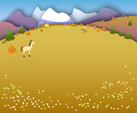 Concept change of seasons. Paper cut style.Flat Landscape Illust Royalty Free Stock Images