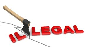 Illegal is becoming legal. The concept of changing the conclusion. The ax cuts off word ILLEGAL to word LEGAL. 3D Illustration. Isolated royalty free illustration