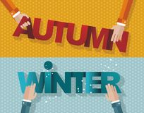 The concept of changing the seasons. Some hands holding the signs AUTUMN and WINTER, retro style, vector Stock Images