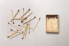 The concept of chaos and order. Chaotic match boxes lying around with the order of stacked matches. Stock Photography