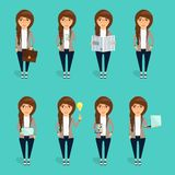 Concept of the character of the young business woman. The concept of the character of the young business woman. Set business woman characters Royalty Free Stock Photos