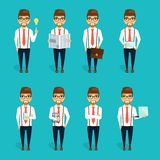 Concept of the character of the young businessman. The concept of the character of the young businessman. Set businessman characters Stock Photography