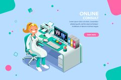 Medical Consult Specialist Web Banner Template. Concept with characters, treatment and exam patient, specialist cartoon. Examination, diagnosis, nurse work stock illustration