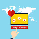 Concept for charity online service. Medical donations, internet Royalty Free Stock Photos
