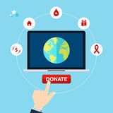 Concept for charity online service. Medical donations, internet Stock Photos