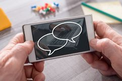 Concept of chat. Chat concept on mobile phone Royalty Free Stock Images