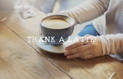 Concept chaud de plaisir de café de Latte merci images stock