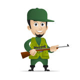 Concept cheerful hunter holds shotgun. Illustration, concept cheerful hunter holds shotgun, format EPS 10 Royalty Free Stock Photo