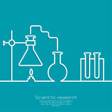 The concept of chemical science research lab. Retorts, beakers, flasks and other equipment. Biological and scientific tests. discovery  new technologies Stock Photos
