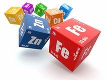 Concept chemie. Periodieke lijst van element op kubussen. Royalty-vrije Stock Afbeeldingen