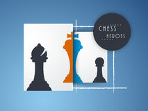 Concept of chess heroes. Stylish silhouette of chess heroes like bishop, king and pawn on blue background Stock Images