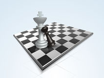 Concept of chess with its board and figures. Chess king and pawn figures with chessboard on sky blue background Stock Photo