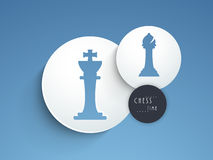Concept of chess with its figures. Stylish figures of king and bishop on blue background, can be use as sticker, tag or label Royalty Free Stock Photos