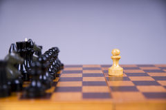 Concept with chess pieces on a wooden chess board Royalty Free Stock Photos